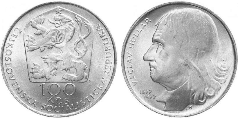 100 Koruna 1977 - Václav Hollar