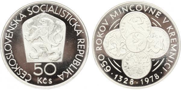 50 Koruna 1978 - 650. výročí mincovny v Kremnici, PROOF