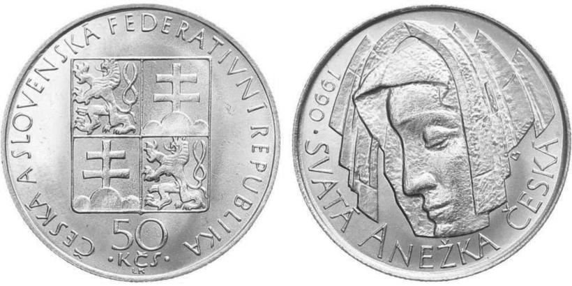 50 Koruna 1990 - Svatá Anežka Česká