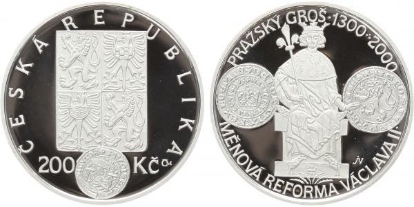 200 Kč 2000 - Měnová reforma Václava II., PROOF