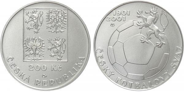 200 Kč 2001 - Český fotbalový svaz, běžná kvalita