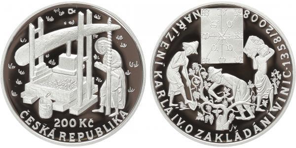 200 Kč 2008 - Nařízení Karla IV. o zakládání vinic, PROOF