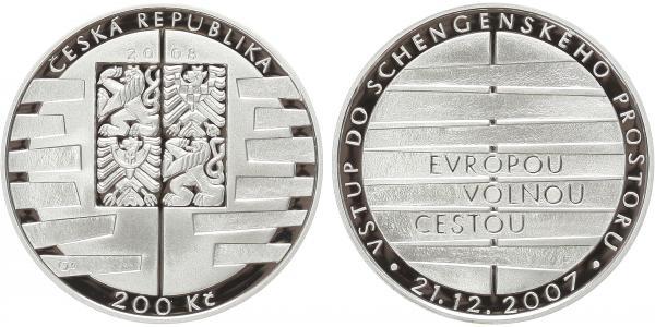 200 Kč 2008 - Vstup do schengenského prostoru, PROOF