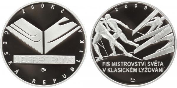 200 Kč 2009 - Mistrovství světa v klasickém lyžování, PROOF