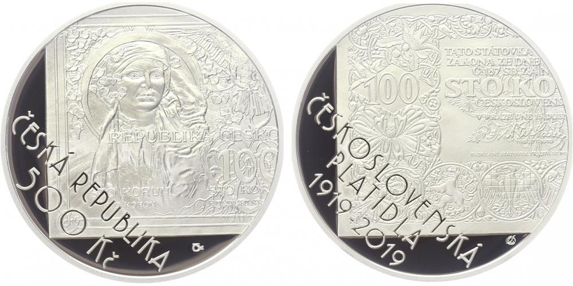 500 Kč 2019 - 100. výročí zahájení vydávání československých platidel, PROOF