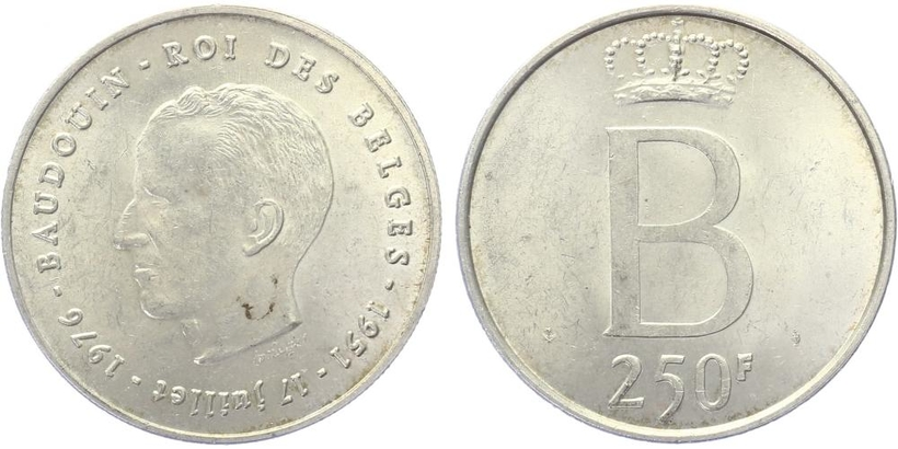 250 Frank 1976 - 25. výročí vlády krále Baudouina