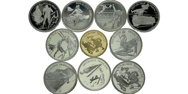 Francie 1992 - Olympiáda Albertville, Sada 9 stříbrných a jedné zlaté mince, PROOF