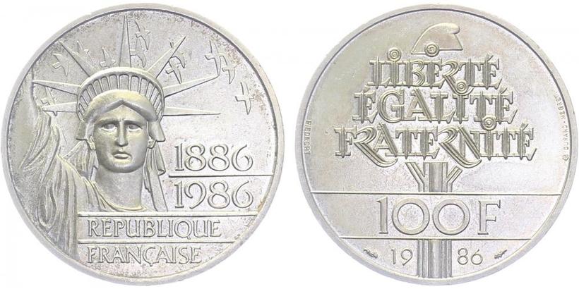 Francie, 100 Frank 1989, Ag 0,900, 31 mm (15 g)