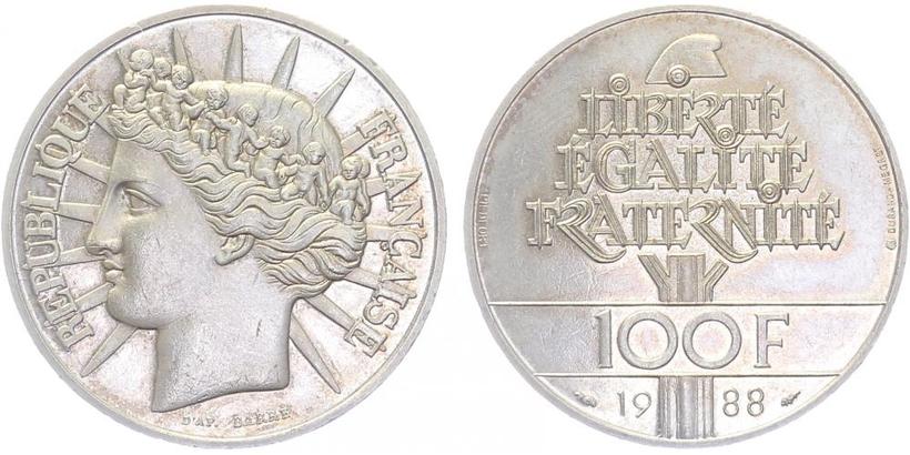 Francie, 100 Frank 1988, tlustý odražek