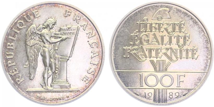 Francie, 100 Frank 1989, tlustý odražek
