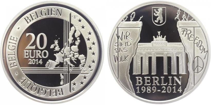 20 Euro 2014 - 15. výročí zboření Berlínské zdi, PROOF