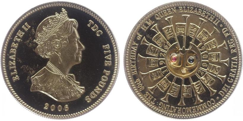 5 Pounds 2006 - 80. narozeniny Alžběty II., zlaceno