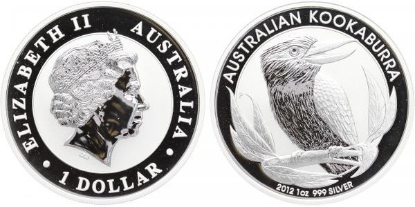 1 Dollar 2012 - Kokaburra, Ag 0,999, 40,6 mm (31,1 g), 1 Oz., PROOF