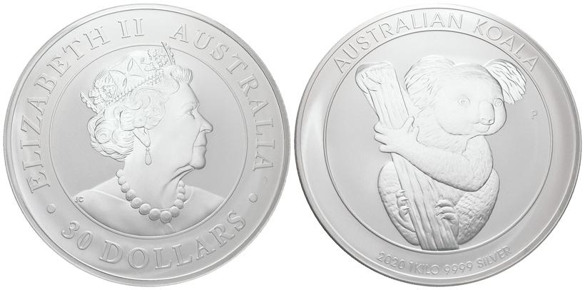 30 Dollar 2020 - Koala, Ag 0,9999 (1 KG), běžná kvalita