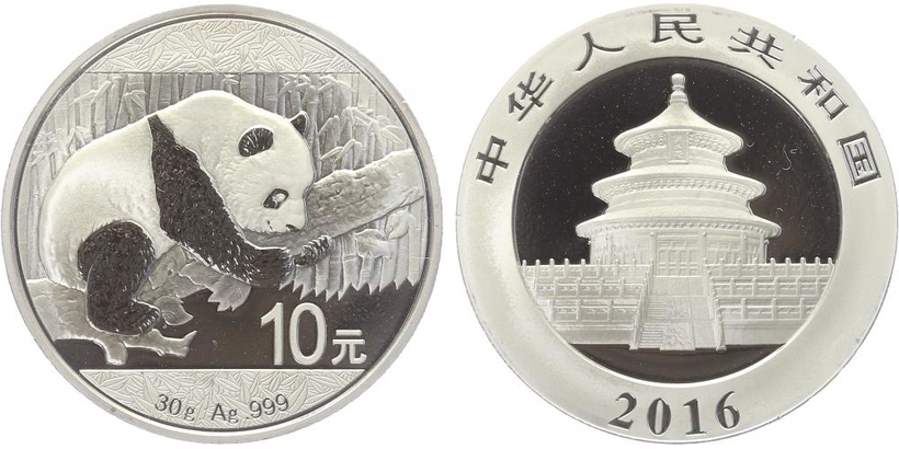 10 Jüan 2016 - Panda, Ag 0,999 (31,13 g), 1 Oz, PROOF