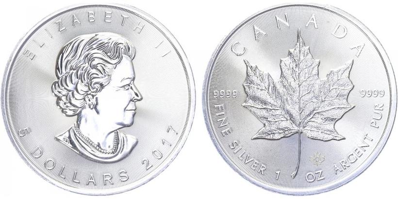Maple Leaf, 5 Dollar 2017, investiční mince