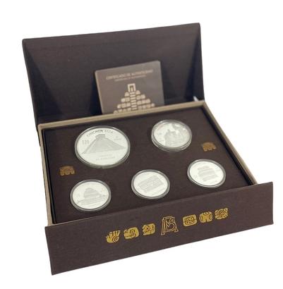 Sada 5 kusů mincí - Májské město Chichen Itzá, PROOF
