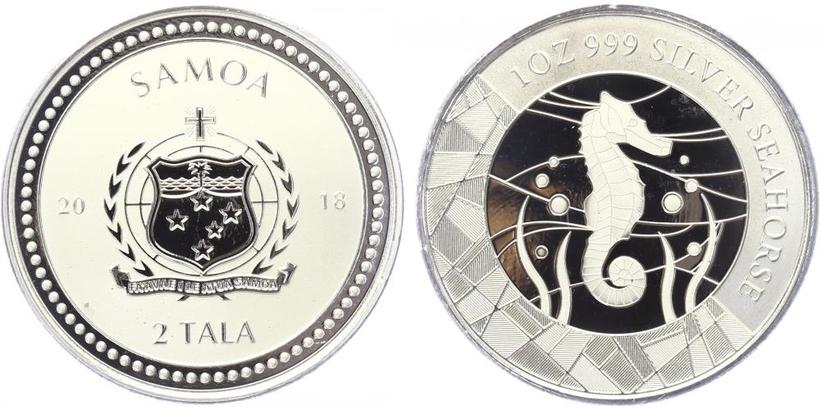 2 Tala 2018 - Mořský koník, Ag 0,999 (31,105 g), 1OZ