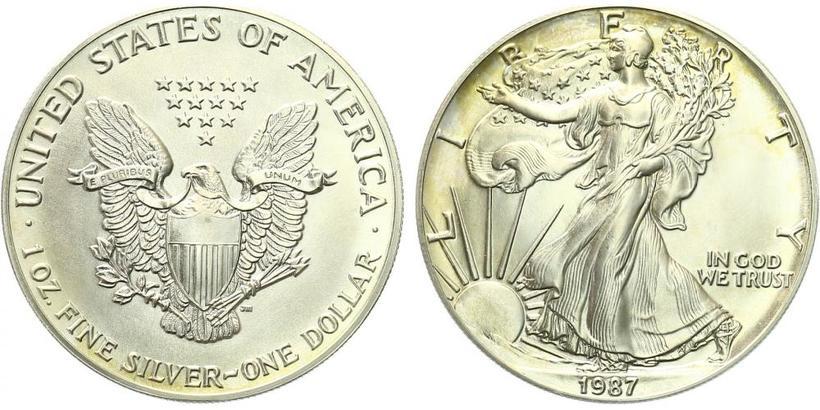 USA, 1 Dollar 1987 - Liberty, Ag 0,9993 (31,101 g), 1 Oz