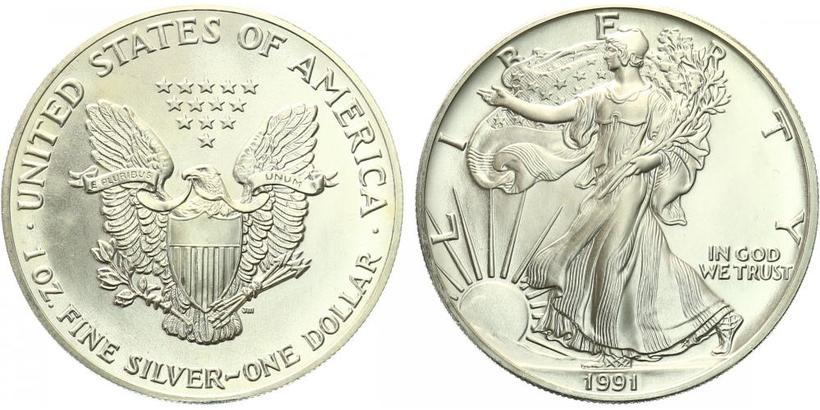 USA, 1 Dollar 1991 - Liberty, Ag 0,9993 (31,101 g), 1 Oz