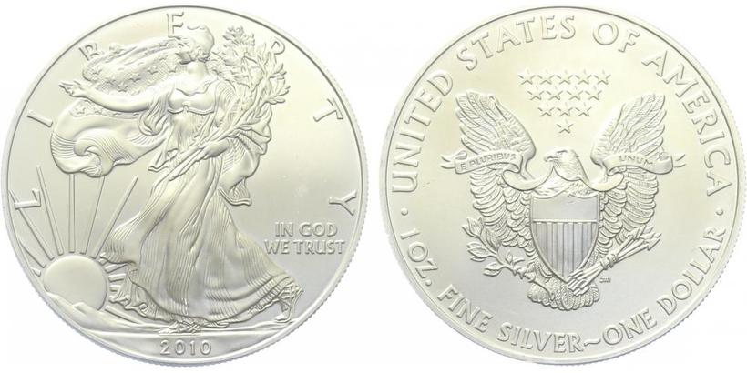 USA, 1 Dollar 2010 - Liberty, Ag 0,9993 (31,101 g), 1 Oz