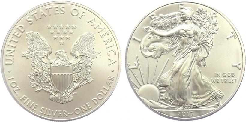 USA, 1 Dollar 2017 - Liberty, Ag 0,9993 (31,101 g), 1 Oz