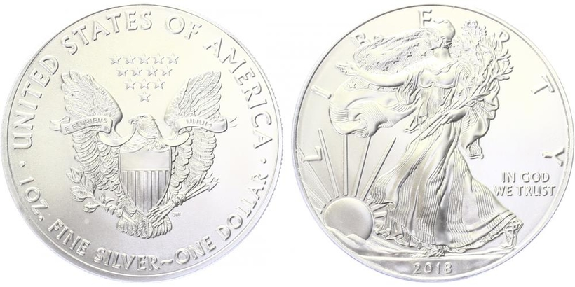 USA, 1 Dollar 2018 - Liberty, Ag 0,9993 (31,101 g), 1 Oz