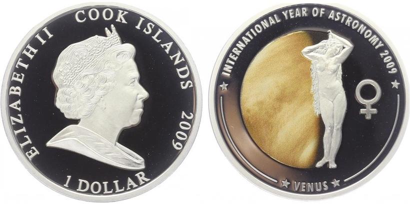Cookovy ostrovy, 1 Dollar 2009 - Mezinárodní rok astronomie - Venuše, PROOF