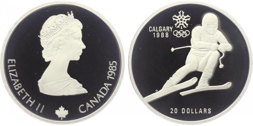 20 Dollar 1985 - Calgary 1988 - Lyže - sjezd, PROOF