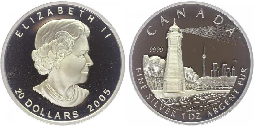 20 Dollar 2005 - Maják na ostrově v Torontu, PROOF