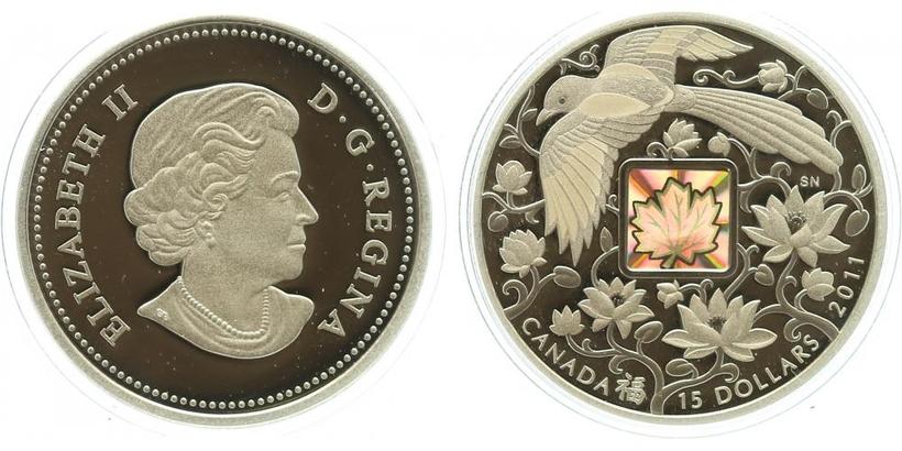 Kanada, 15 Dollar 2011 - Pták štěstí v letu nad lotosovými květy, mince s hologramem, PROOF