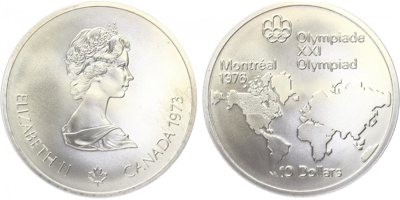 10 Dollar 1973 - Olympiáda Montreal 1976, Ag 0,925, 45 mm (48,6 g)
