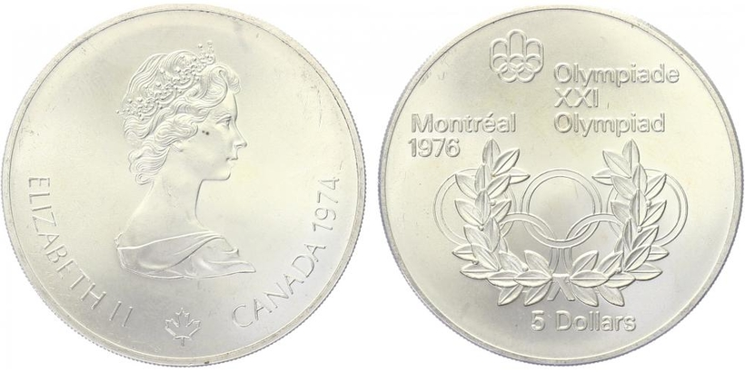 5 Dollar 1974 - OH Montreal 1976, běžná kvalita