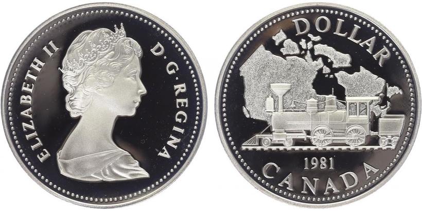 Kanada, Dollar 1981 - transkontinentální železnice, PROOF