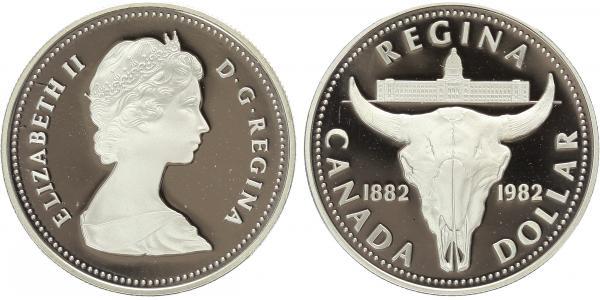 Dollar 1982 - Regina - lebka býka, PROOF