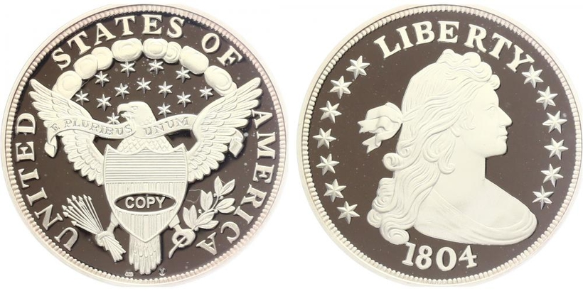 Stříbrná kopie Dolaru 1804, PROOF