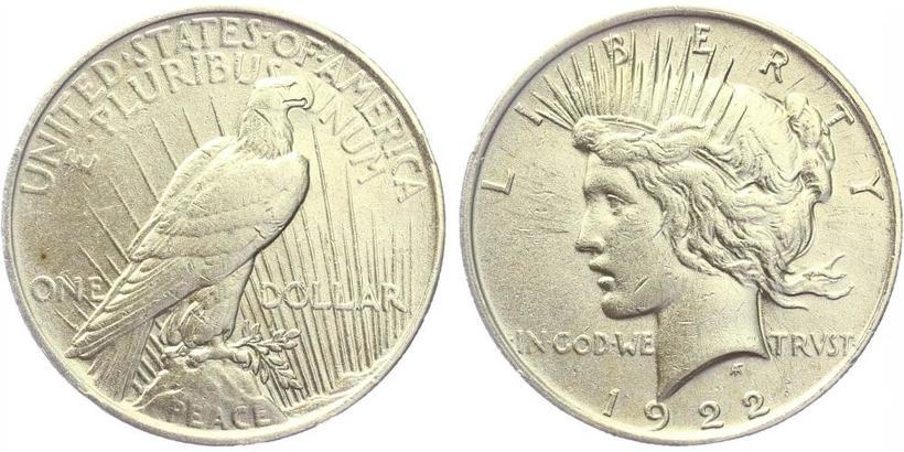 1 Dollar 1922 - Mírový, Ag 0,900 (26,73 g)