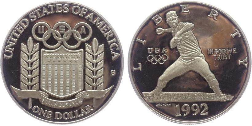 1 Dollar 1992 - Baseball, PROOF