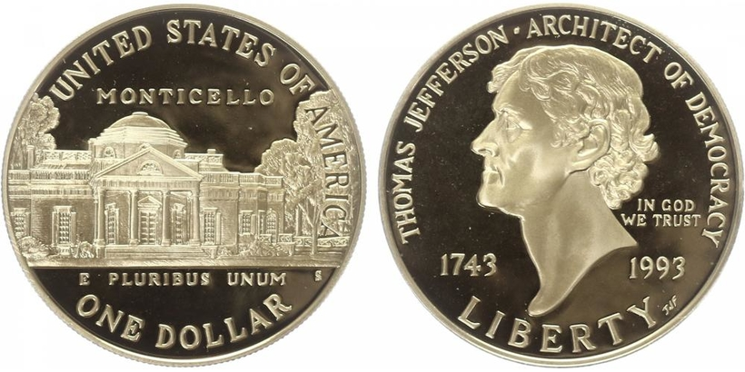 1 Dollar 1993 - Thomas Jefferson, PROOF