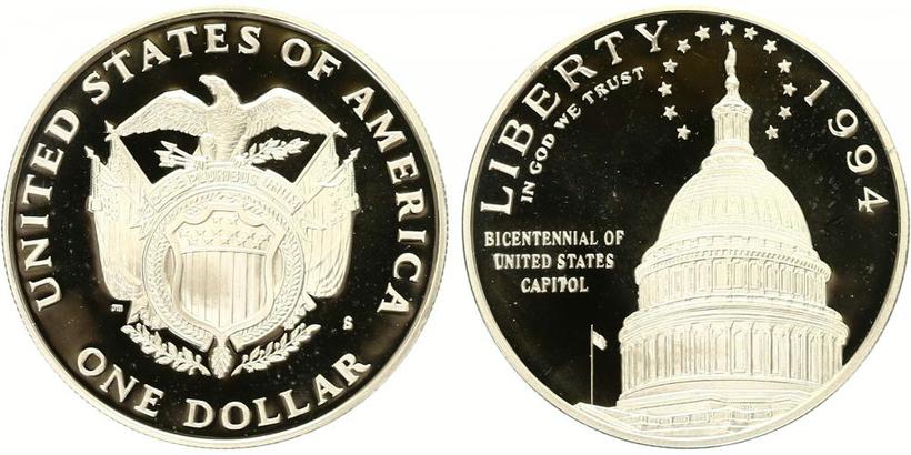 1 Dollar 1994 - 200. výročí amerického kapitolu, PROOF