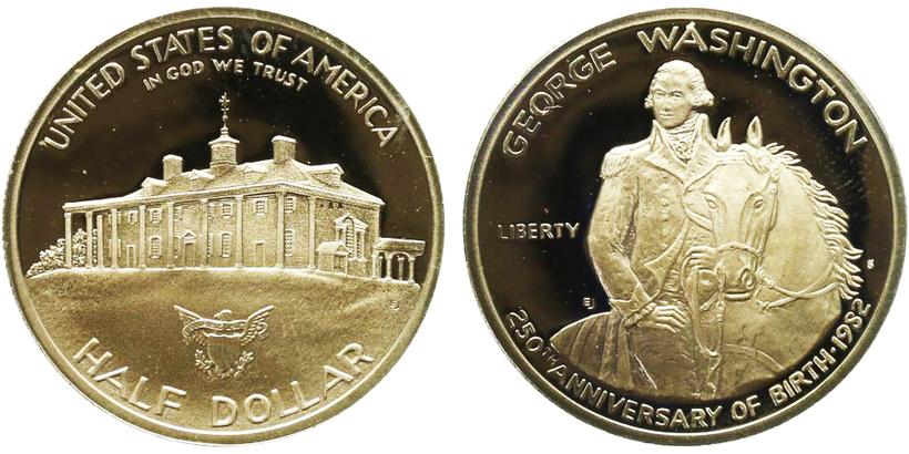 USA, 1/2 Dollar - 1982, George Washington - 250. výročí narození, PROOF