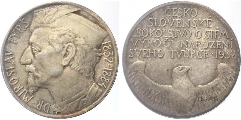 AR Medaile 1932 - Miroslav Tyrš, 100. výročí narození, Ag 0,987, 42 mm (30,09 g)