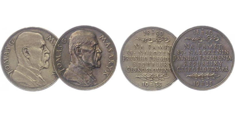 Masaryk, AR Medaile 1935 - 85. výročí narození T. G. Masaryka, lesklá, ražba, 2 kusy