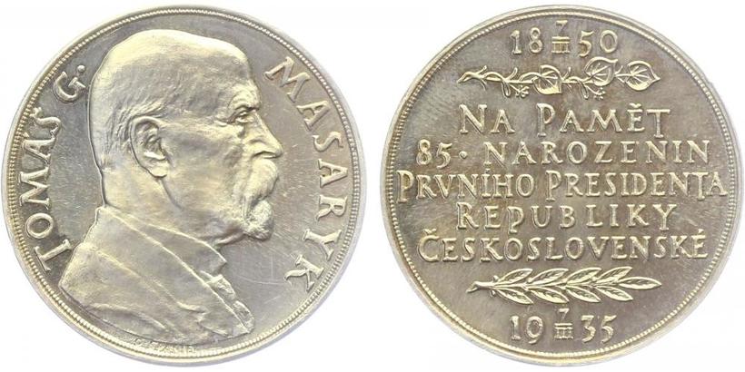 Masaryk, AR Medaile 1935 - 85. výročí narození T. G. Masaryka, 32 mm, lesklá, ražba