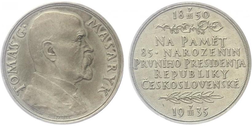 Masaryk, AR Medaile 1935 - 85. výročí narození T. G. Masaryka, 32 mm, matná ražba