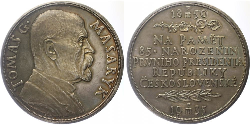 AR Medaile 1935 - 85. výročí narození T. G. Masaryka, lesklá