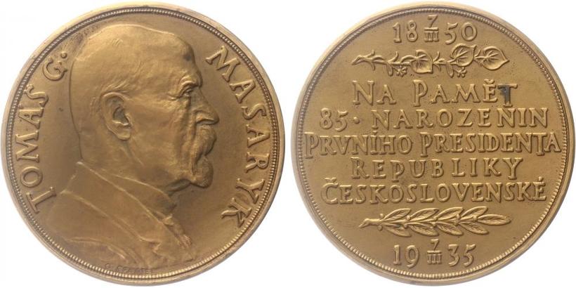 AE Medaile 1935 - 85. vyročí narození T. G. Masaryka