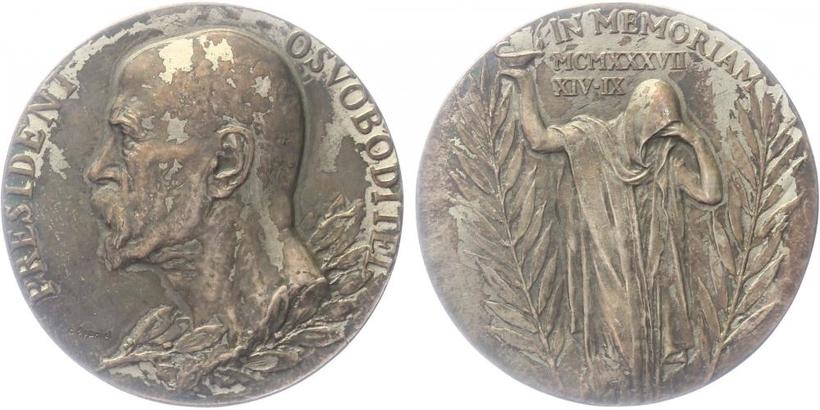 AR Medaile 1937 - K úmrtí T. G. Masaryka, původní etue