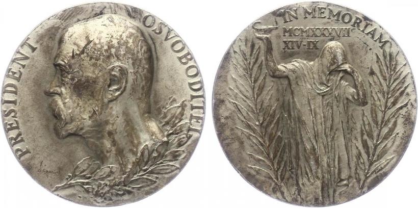 AR Medaile 1937 - K úmrtí T. G. Masaryka, Ag 0,987, 40 mm (29 g)