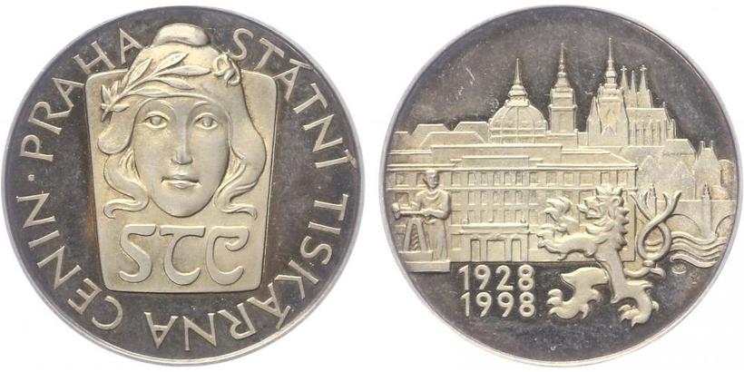 AR Medaile 1998 - 70. výročí státní tiskárny cenin, PROOF